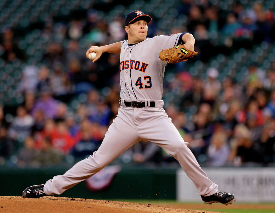 April 10: Astros 8, Mariners 3Astros pitcher Brad Peacock makes a throw during the first inning. Photo: Elaine Thompson, Associated Press
