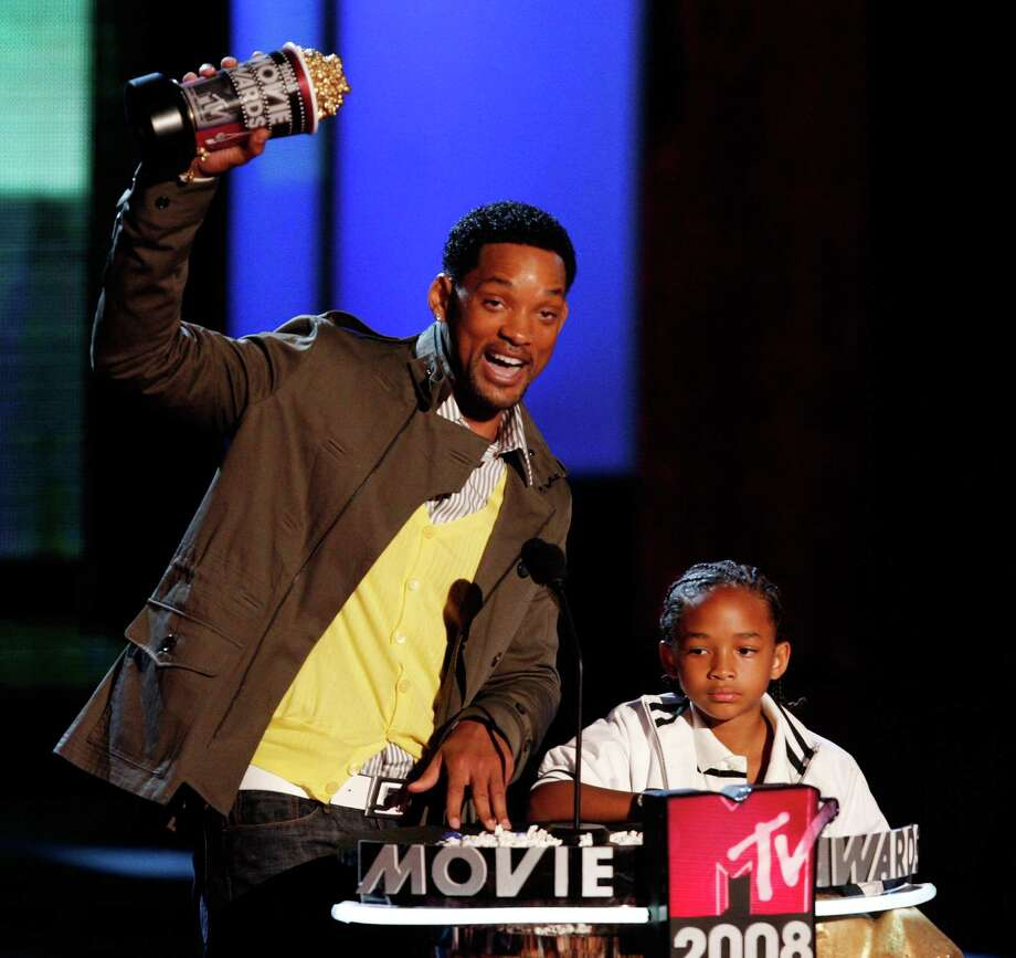 Actor Will Smith accepts the award for Best Male Performance with his son Jaden Smith during the 17th annual MTV Movie Awards held at the Gibson Amphitheatre on June 1, 2008 in Universal City, California. Photo: Kevin Winter, Getty Images / 2008 Getty Images