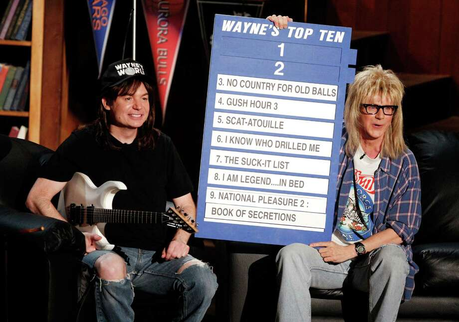 "Actors Mike Myers (L) and Dana Carvey reunite as Wayne and Garth from ""Wayne's World"" onstage during the 17th annual MTV Movie Awards held at the Gibson Amphitheatre on June 1, 2008 in Universal City, California. Photo: Kevin Winter, Getty Images / 2008 Getty Images"
