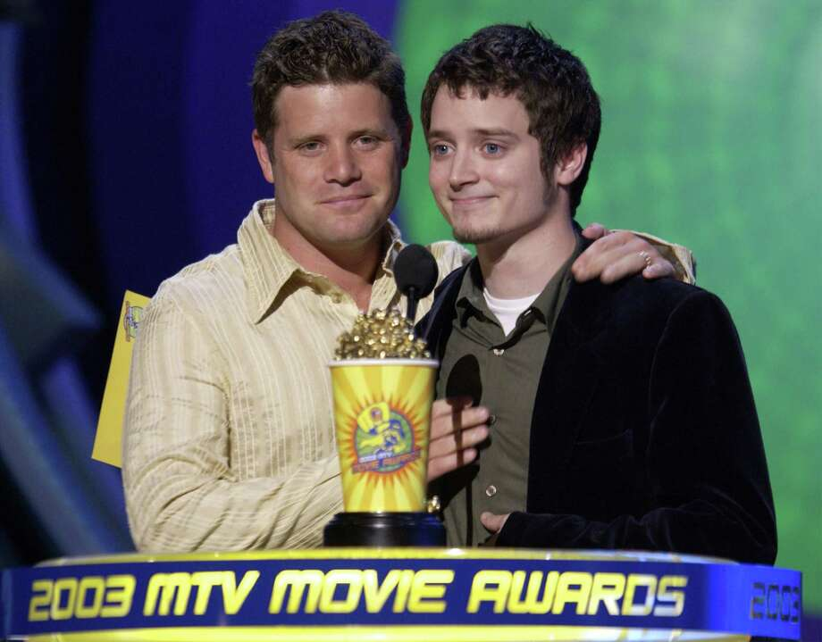 """Lord of the Rings"" actors Sean Astin and Elijah Wood on stage at the 2003 MTV Movie Awards held at the Shrine Auditorium on May 31, 2003 in Los Angeles, California. Photo: Robert Mora, Getty Images / 2003 Getty Images"