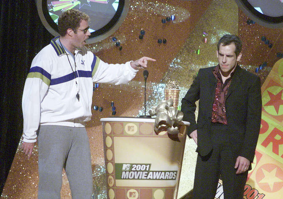 Will Farrell berates Ben Stiller after he received an award for Best Comedic Performance at the 2001 MTV Movie Awards at the Shrine Auditorium in Los Angeles, Ca. 6/2/01. Photo: Kevin Winter, Getty Images / Getty Images North America
