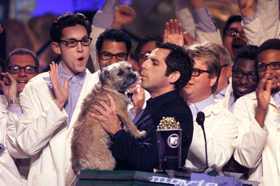 "Ben Stiller and ""Puffy"" the dog from the movie ""There's Something About Mary"" on the 1999 MTV Movie Awards at the Barker Hangar in Santa Monica, CA, 6/5/99. Photo: Frank Micelotta, Getty Images / Getty Images North America"