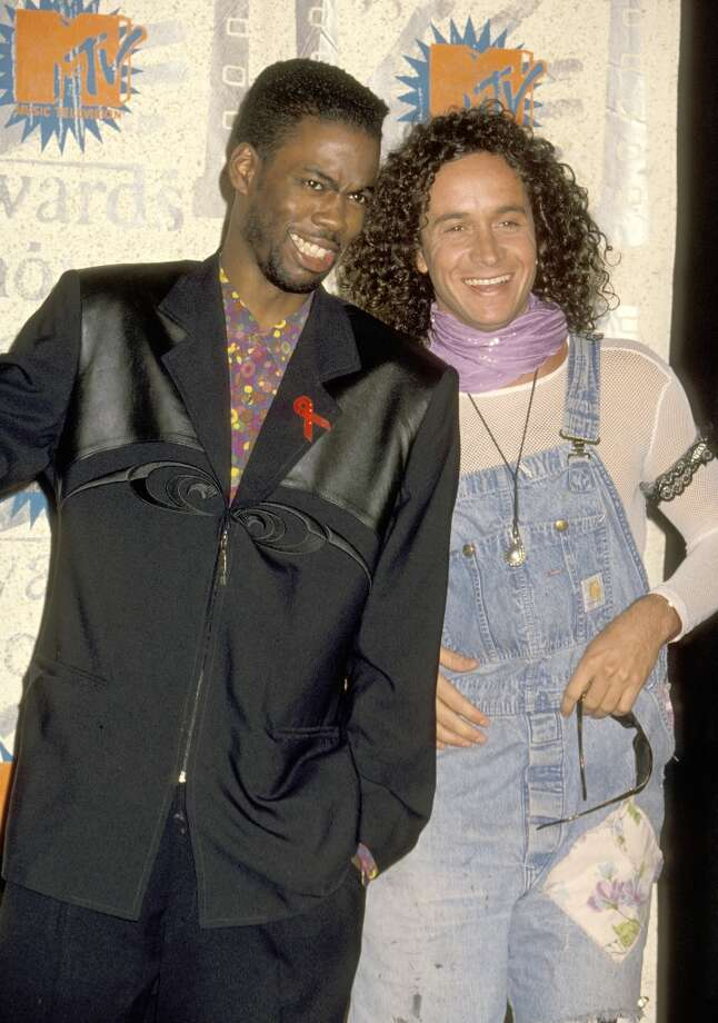 Pauly Shore and his overalls hang out with Chris Rock during the 2nd Annual MTV Movie Awards in 1993 at Disney Studios in Burbank, California, United States. (Photo by Ron Galella/WireImage) Photo: Ron Galella, WireImage / Ron Galella Collection