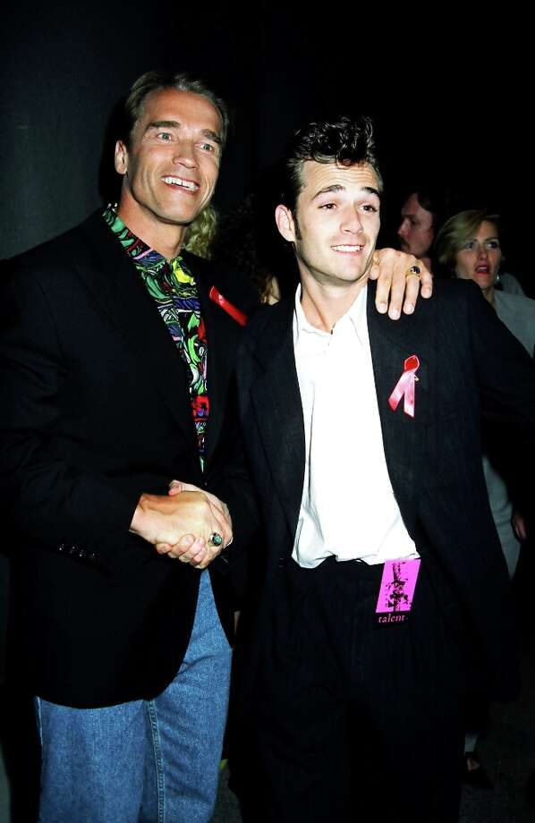 Arnold Schwarzenegger and Luke Perry during the first  MTV Movie Awards in 1992 at Culver Studios in Culver City, California, United States. (Photo by Jeff Kravitz/FilmMagic, Inc) Photo: Jeff Kravitz, FilmMagic, Inc / e-mail sales@filmmagic.com to license FilmMagic images.