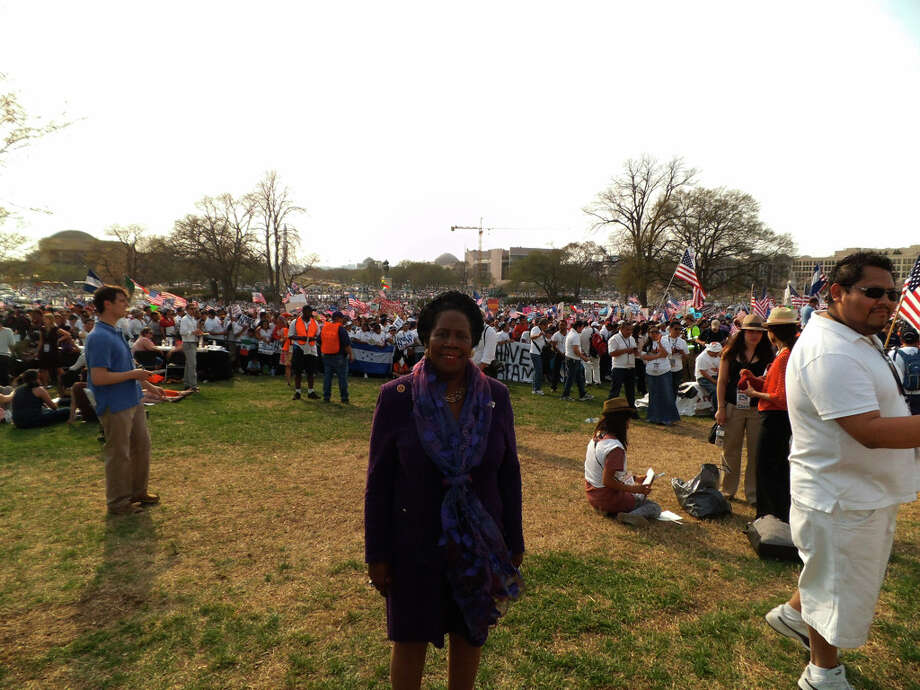Houston\'s Sheila Jackson Lee lent her support at the rally after attending a committee hearing on immigrant deportations.