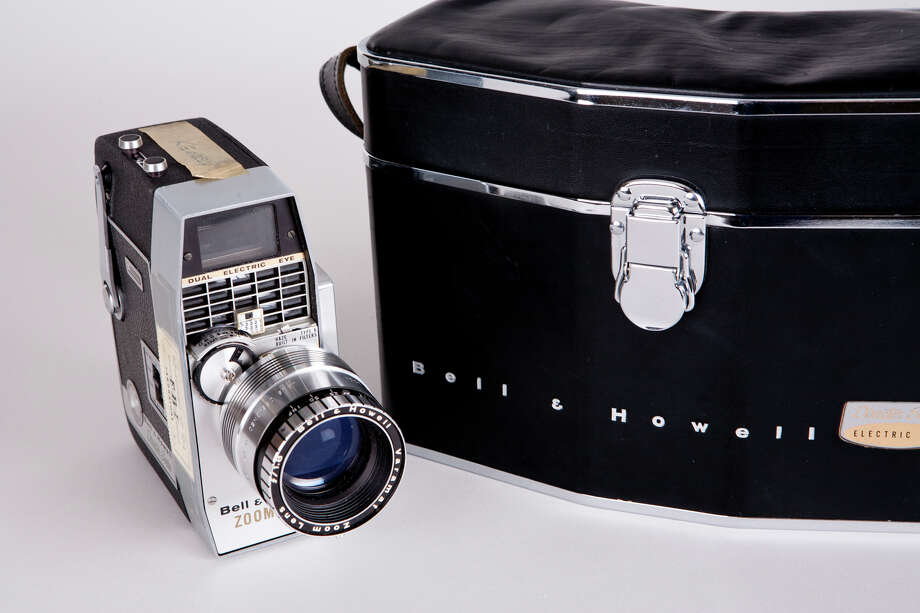 Dallas businessman Abraham Zapruder used this Bell & Howell 8 mm home movie camera, seen with its case, to film President John F. Kennedy's motorcade on Nov. 22, 1963. Zapruder was the only eyewitness to capture the entire assassination on film. Photo: Sarah Mercier/Newseum/Courtesy National Archives And Records Administration, Washington, DC