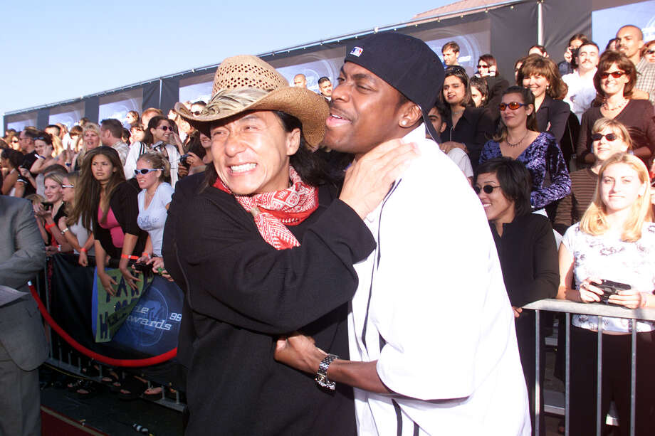 """Rush Hour"" co-stars Jackie Chan and Chris Tucker arrive for the 1999 MTV Movie Awards at the Barker Hangar in Santa Monica, CA, 6/5/99. Photo: Frank Micelotta, Getty Images / Getty Images North America"
