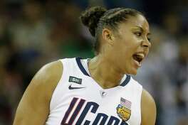 Connecticut forward Kaleena Mosqueda-Lewis (23) reacts during first half of the national championship game against Louisville of the women's Final Four of the NCAA college basketball tournament, Tuesday, April 9, 2013, in New Orleans.