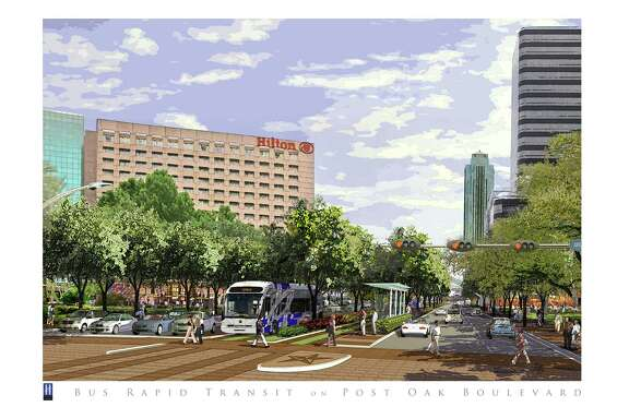 CAPTION: An artist rendering of a reconstructed Post Oak Boulevard. Mayor Annise Parker today announced details of a plan that will provide funding for construction of a mass transit corridor on Post Oak Boulevard. The transit improvements include the widening of Post Oak Boulevard to allow for construction of bus rapid transit lanes within the median while still preserving six lanes of automobile traffic. CREDIT: City of Houston