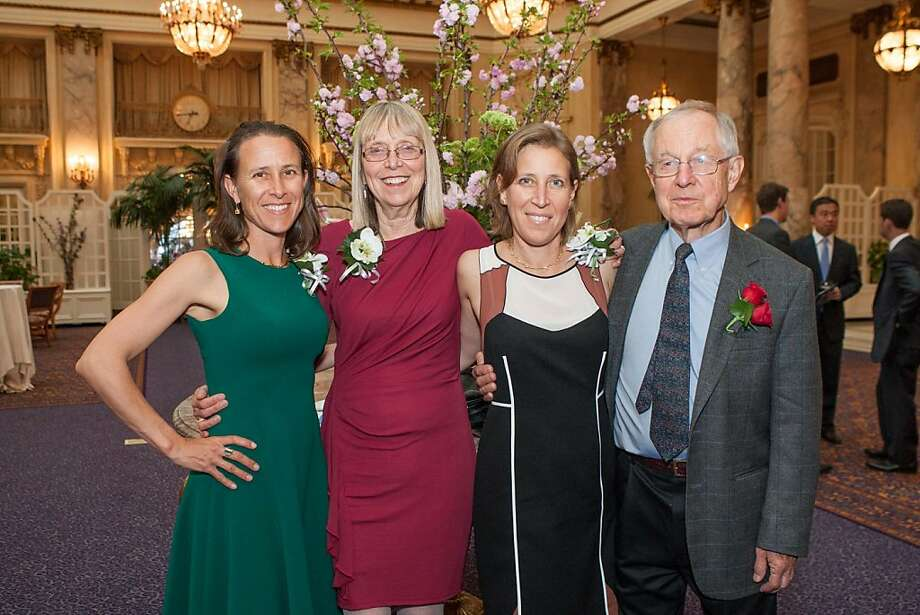 Anne Wojcicki, Esther Wojcicki, Susan Wojcicki and Stanley G. Wojcicki at The Next 110 event presented by The Commonwealth Club on April 10, 2013. The dinner event, which is the Club's most significant annual fundraiser, took place at the Palace Hotel on April 10, 2013. Photo: Drew Altizer Photography