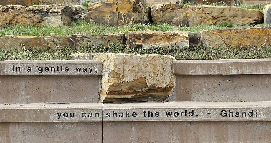 Close enough for Nebraskans: In the 2-1/2 years that this inscription has graced an amphitheater in a Lincoln, Neb., park, not a single person has reported the misspelling of Gandhi's name, according to parks director Lynn Johnson. Photo: Ted Kirk, Associated Press