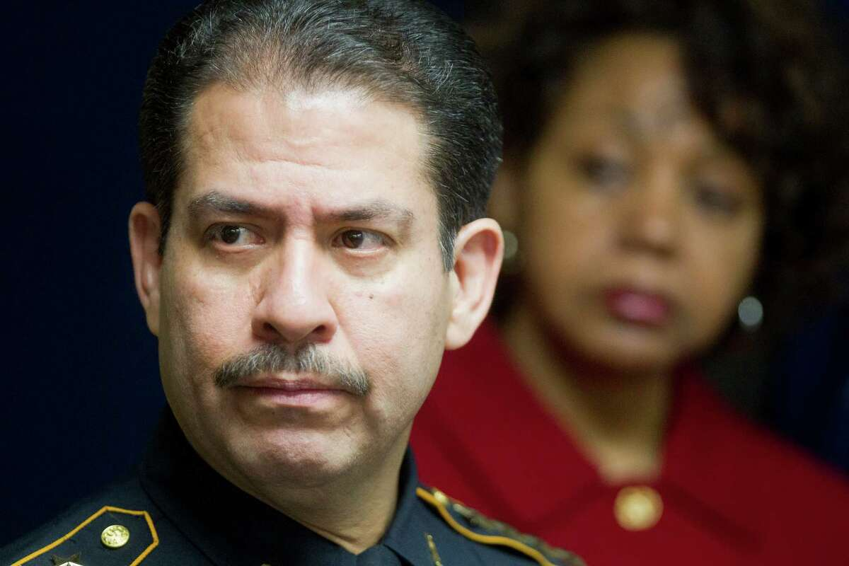 Next to Dr. Audre Levy, president of Lone Star College-CyFair, Harris County Sheriff Adrian Garcia addresses the media during a press conference about Dylan Andrew Quick, the Lone Star College student who is accused of injuring 14 people with a knife at the Harris County Jail Wednesday, April 10, 2013, in Houston. Garcia said that Quick told deputies that he had fantasized about killing people with a knife since he was a child and that he had planned out his knifing spree for some time.