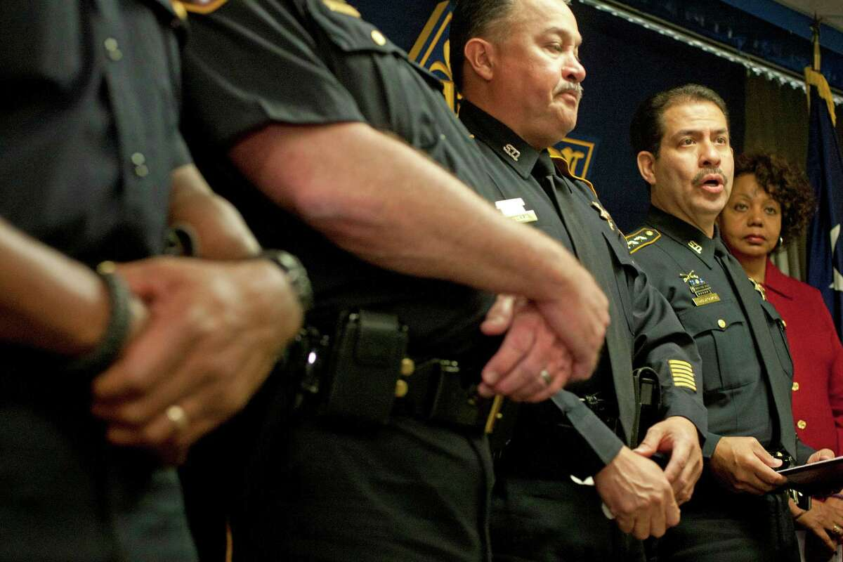 Harris County Sheriff Adrian Garcia addresses the media during a press conference about Dylan Andrew Quick, the Lone Star College student who is accused of injuring 14 people with a knife at the Harris County Jail Wednesday, April 10, 2013, in Houston.