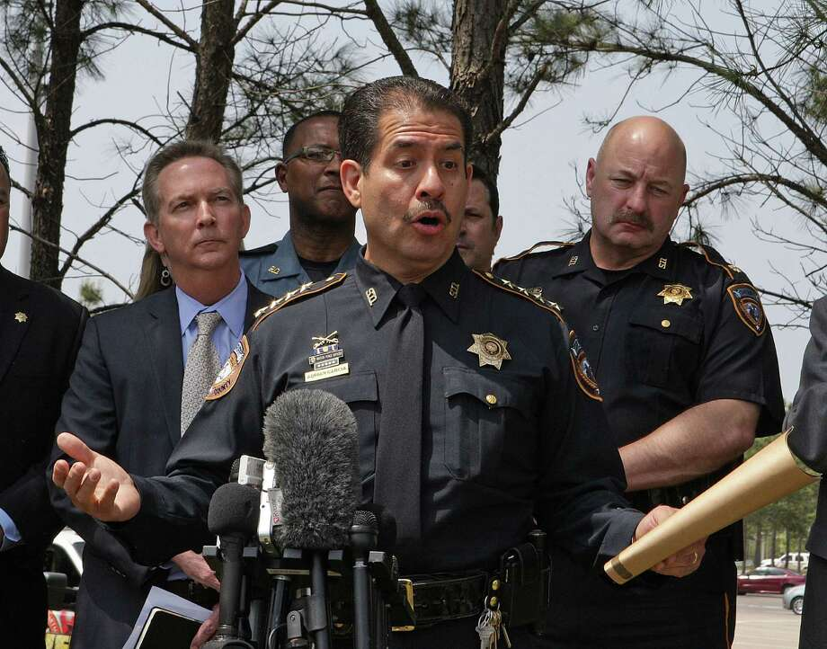 Harris County Sheriff Adrian Garcia speaks during a press conference updating the multiple stabbing incident at Lone Star College's Cypress-Fairbanks campus. Photo: James Nielsen, Houston Chronicle / © 2013 Houston Chronicle