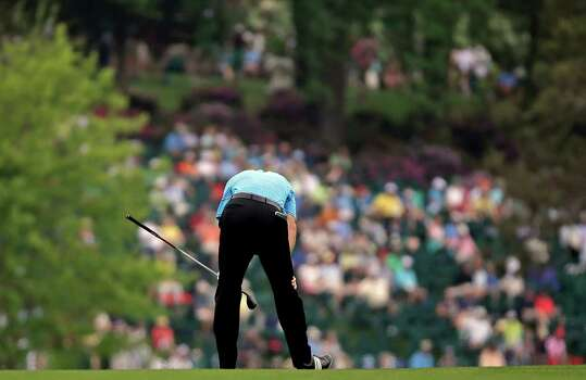 Jim Furyk reacts after his shot on the 15th fairway during the first round of the Masters golf tournament Thursday, April 11, 2013, in Augusta, Ga. (AP Photo/David J. Phillip) Photo: David J. Phillip, Associated Press / AP
