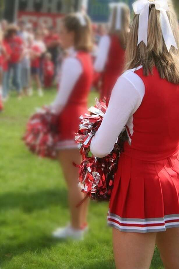 CHEERLEADER SKIRTS.When cheerleaders at San Jose's Piedmont Hills High School switched to a uniform with mini skirts above the mid-thigh, school officials decided the skirts could only be worn at games--not around school. Full story. Photo: Aceshot1 / Shutterstock