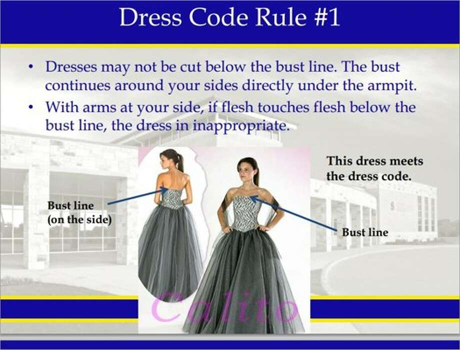 PROPER PROM ATTIRE. Many high schools are now creating detailed PowerPoint presentations, like the one above from a school in Sunnyvale, Tex., to show students what they can and can't wear to prom, reports Yahoo Shine. For example, girls' midriffs can't be exposed and no baggy jeans for boys.