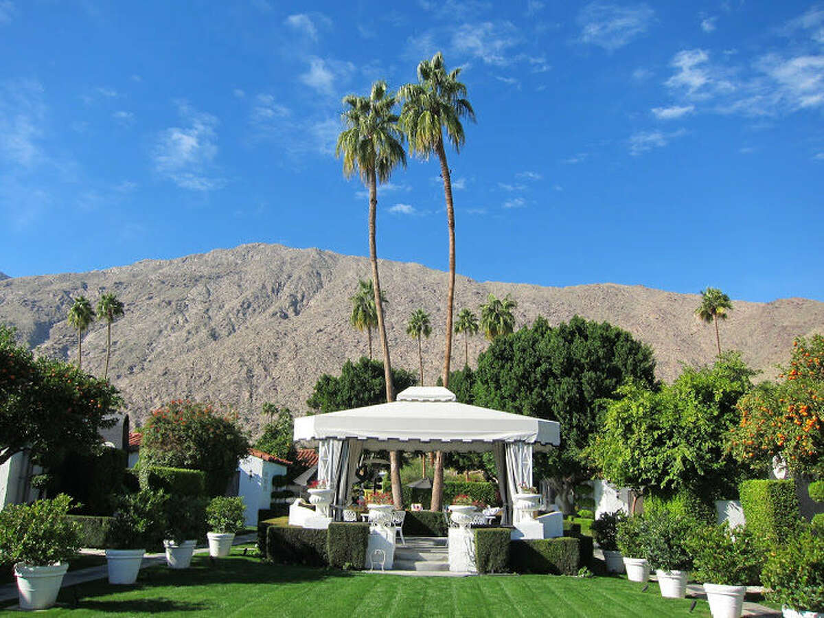 Here in California's Coachella Valley, mountains rise in every direction, each slope displaying its own raiment: ruffled sienna velour, tufted moss-green corduroy, shirred burgundy seersucker, shimmery pewter and bronze brocade. Originally built in the 1930s, the Viceroy was later updated to Hollywood Regency style. At the Viceroy, slip into a cabana that faces the mountains.