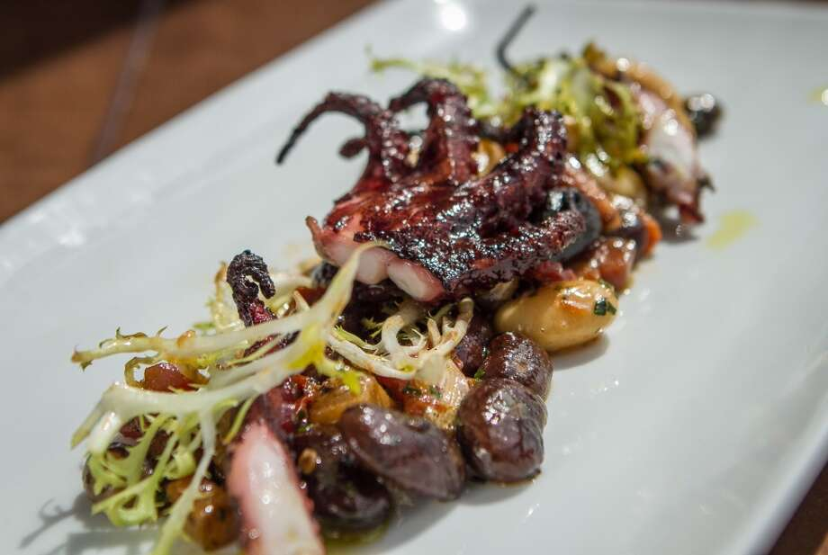 The grilled octopus with heirloom beans and pancetta at Lungomare, ($12).