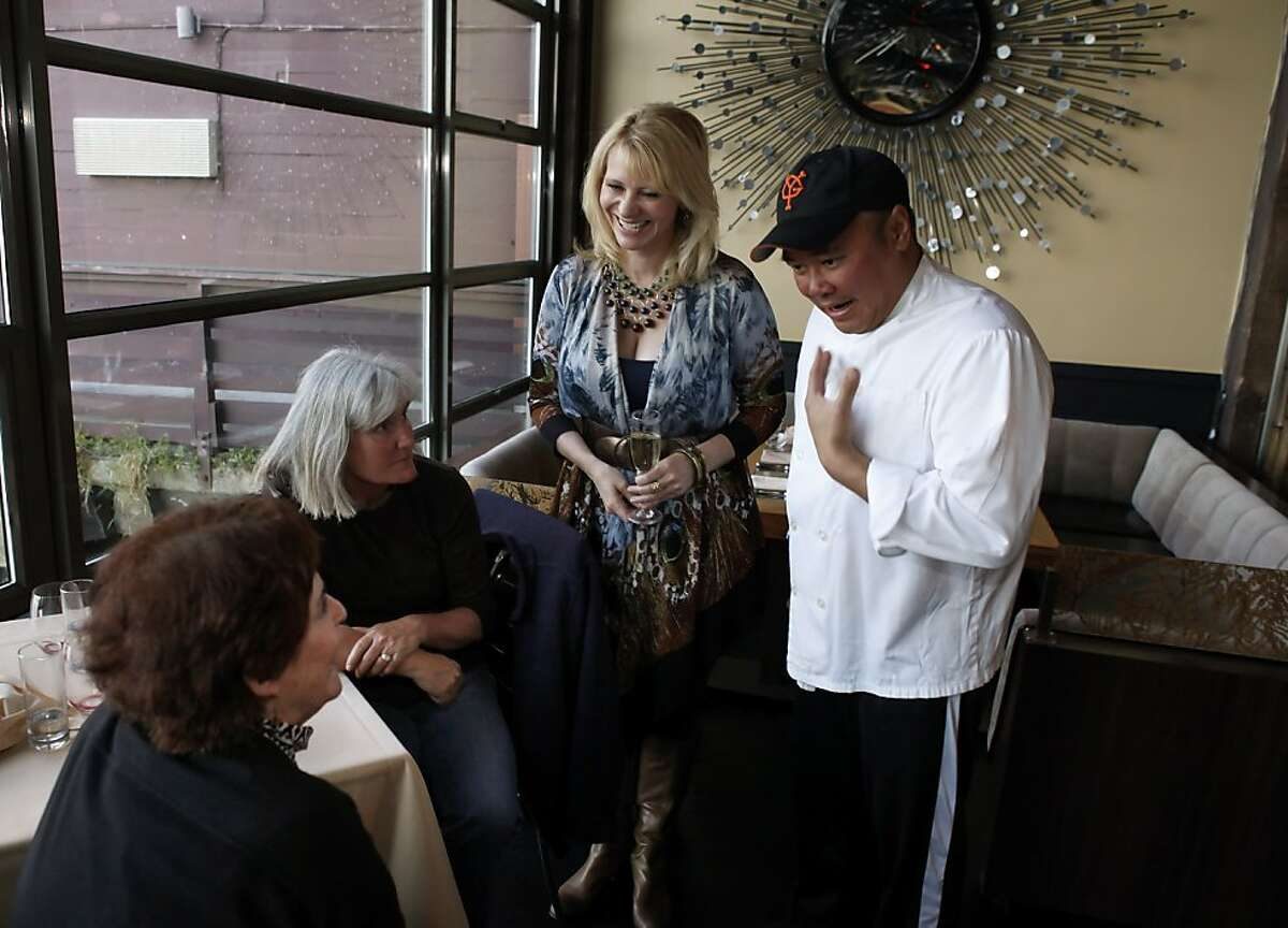 L-R, Susan Kimmel, and Sarah Gallagher, chat with Leslie Sbrocco, and Butterfly chef Rob Lam on Wednesday. Sbrocco, host of the PBS/KQED show Check, Please! Bay Area, was at Butterfly Restaurant in San Francisco, Calif., on Wednesday, April 10, 2013.