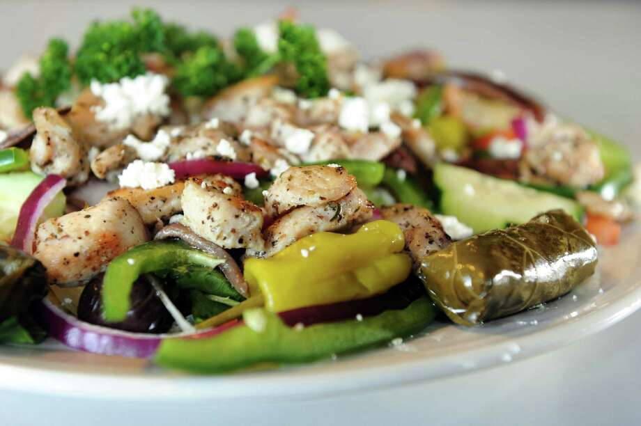 Greek Souvlaki Salad on Tuesday, April 9, 2013, at the Gateway Diner in Albany, N.Y. (Cindy Schultz / Times Union) Photo: Cindy Schultz / 10021878A