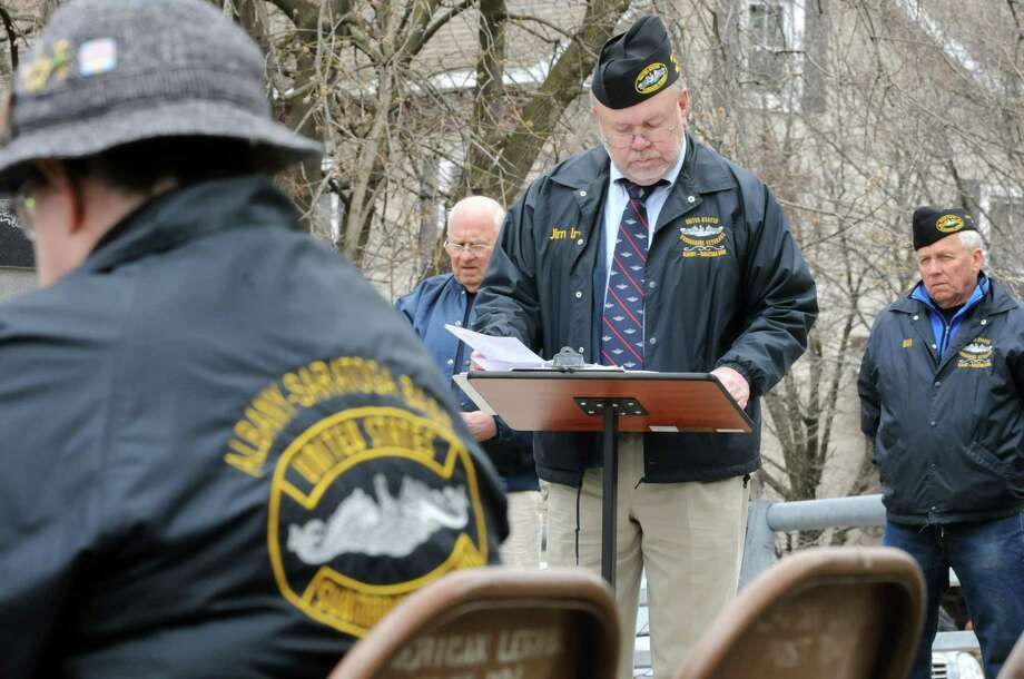 James Irwin, commander of Albany-Saratoga Submarine Veterans, reads the names of the submariners who died at sea during a Tolling The Boats ceremony on Thursday, April 11, 2013 in Ballston Spa, N.Y. Thursday marks the 113th anniversary of the United States submarine service. (Lori Van Buren / Times Union) Photo: Lori Van Buren