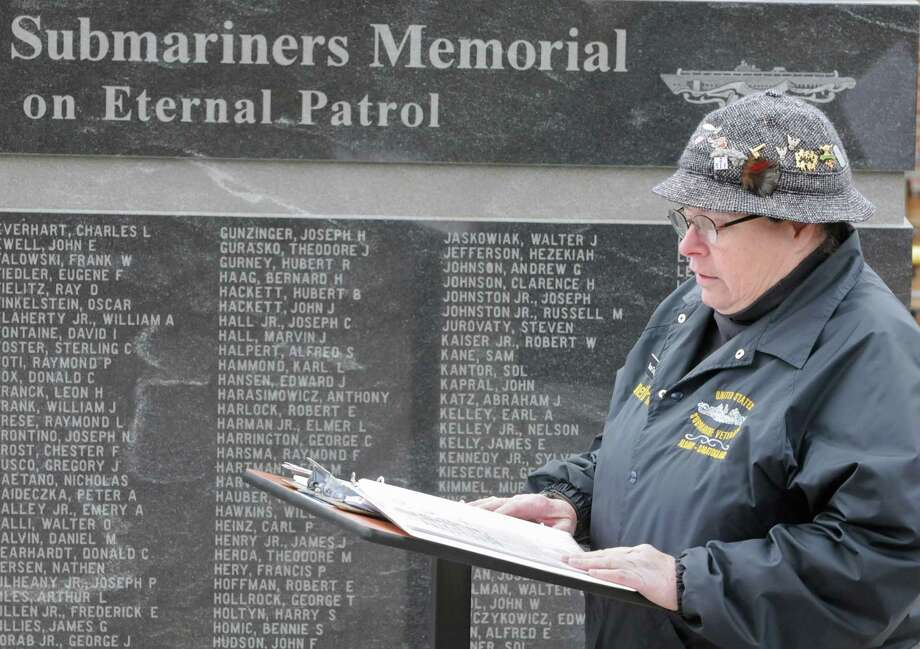 Janet Irwin reads the closing prayer during a Tolling The Boats ceremony at the New York State Submariners Memorial along Route 50 on Thursday, April 11, 2013 in Ballston Spa, N.Y. Thursday marks the 113th anniversary of the United States submarine service. (Lori Van Buren / Times Union) Photo: Lori Van Buren