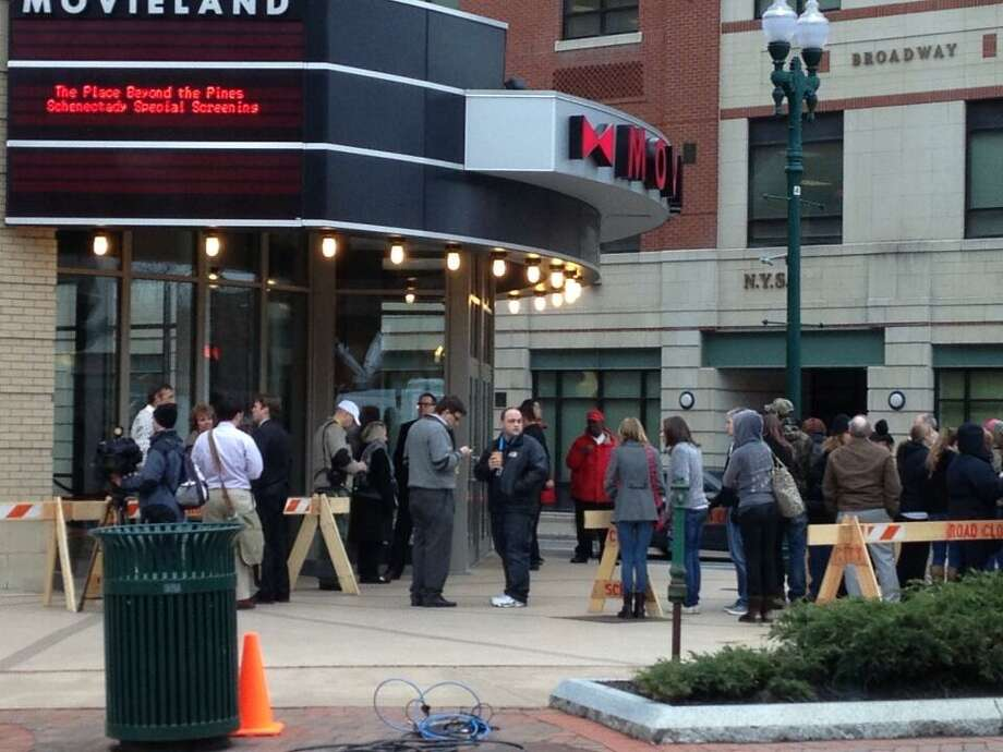 "The crowd lines up early on Thursday, April 11, 2013, at Bow-Tie cinema in Schenectady for ""A Place Beyond The Pines"" special premier. (Mike Goodwin/Times Union)"