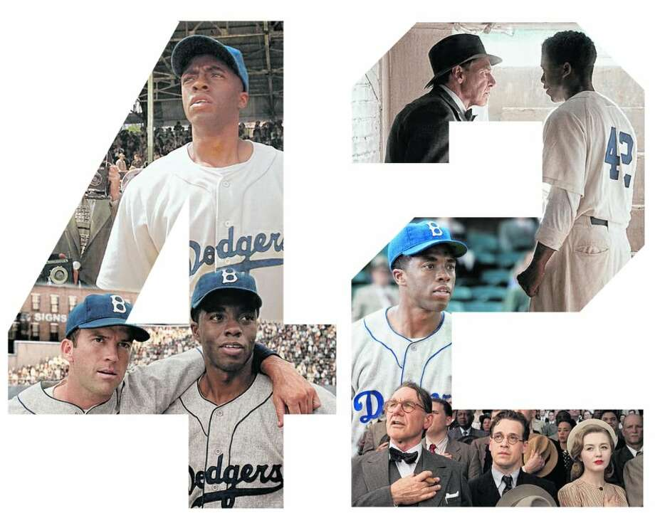 Chadwick Boseman stars as Jackie Robinson, above with Lucas Black (left) as Pee Wee Reese.  Harrison Ford, right and top right, plays Dodgers' GM Branch Rickey.