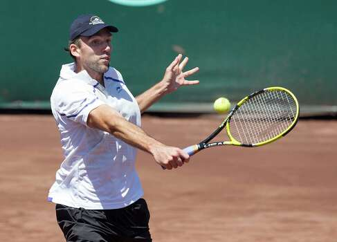 Ivo Karlovic of Croatia during action against Rhyne Williams of the USA. Rhyne Williams defeated Ivo Karlovic 6-4, 6-7,7-6 Thursday, April 13, 2013 at the U.S. Mens Clay Court Championships in Houston, Texas. Photo: Bob Levey, Houston Chronicle / ©2013 Bob Levey