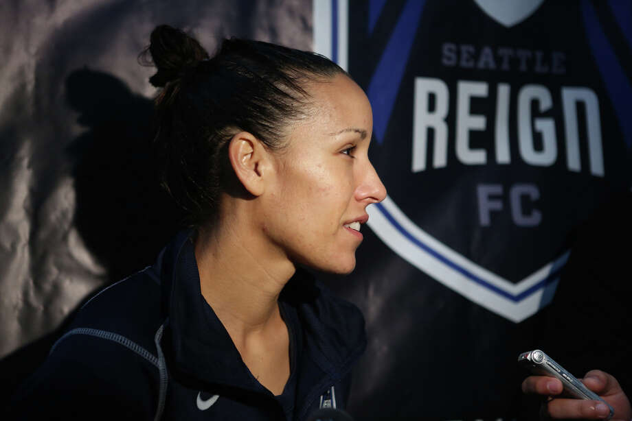 Player Jenny Ruiz speaks to media during Seattle Reign practice. Photo: JOSHUA TRUJILLO, SEATTLEPI.COM / SEATTLEPI.COM