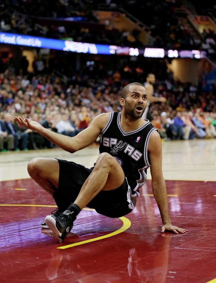 The Spurs' Tony Parker reacts against the Cleveland Cavaliers on Wednesday, Feb. 13, 2013, in Cleveland. Photo: Tony Dejak, Associated Press / AP