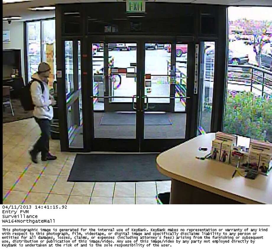 The suspected bank robber, shown the afternoon of Thursday, April 11, 2013.