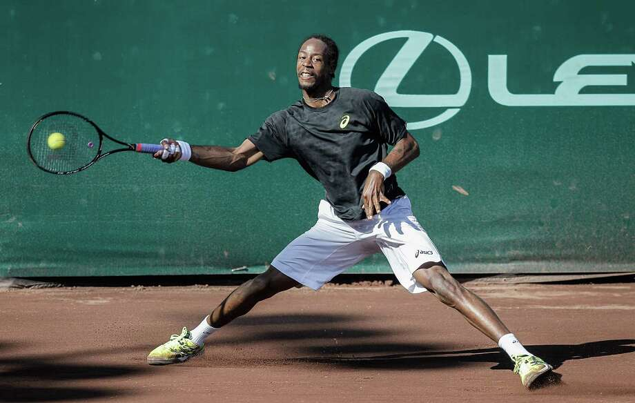 Gael Monfils, of France, during action against Nicolas Almagro, of Spain,Thursday, April 13, 2013 at the U.S. Mens Clay Court Championships in Houston, Texas. Almagro, the number one seed defeated Monfils 2-6,6-0,6-3. Photo: Bob Levey, Houston Chronicle / ©2013 Bob Levey