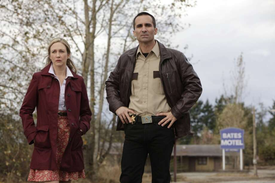 Nestor Carbonell, right, played the mayor in \'\'The Dark Knight Rises\'\' and now stars as the sheriff in the show \'\'Bates Motel\'\' (pictured), with Vera Farmiga.