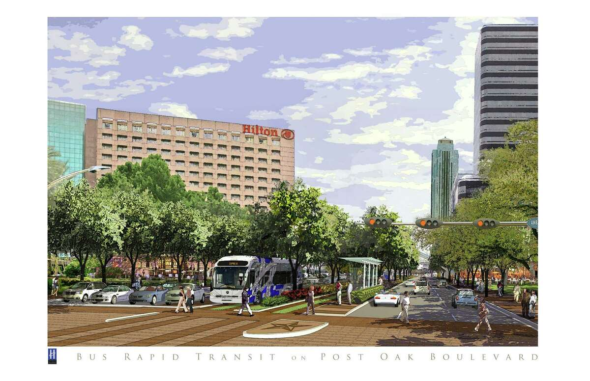 Plans for Post Oak Boulevard include the widening of the roadway for bus rapid transit lanes within the median while still preserving six lanes of automobile traffic.