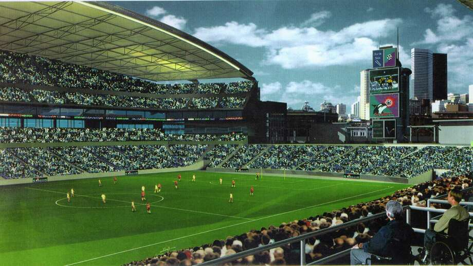 An artists' rendition of the proposed new Seahawks Stadium in 1997. Photo: HANDOUT, Seattlepi.com File