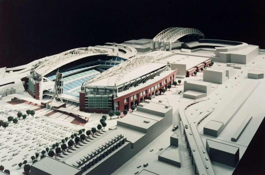 A scale model of the new football/soccer stadium and exhibition center was unveiled June 6, 1997. At that point, Seahawks Stadium would be built if state voters approved Referendum 48 on the June 1997 ballot. Photo: Handout Photo, Associated Press / ELLERBE BECKET