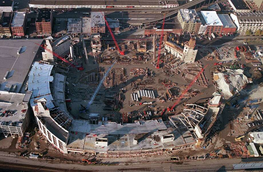 The new Seahawks Stadium is seen under construction on Nov. 14, 2000. Photo: P-I Photo, Seattlepi.com File