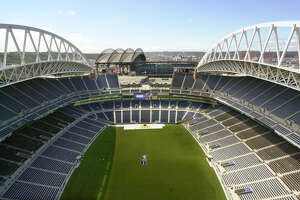 The new Seattle Seahawks stadium is seen from atop the north tower, looking south toward Safeco Field, on July 18, 2002.