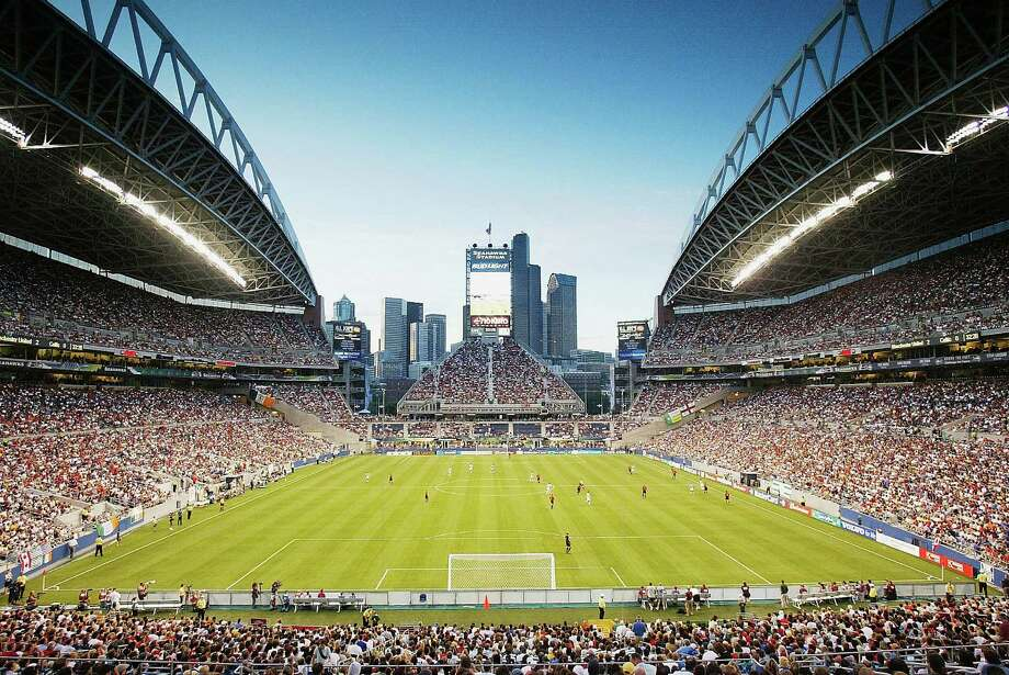 A general view of the Seattle skyline during the  Champions World Series game between Manchester United and Celtic on July 22, 2003, at what was then called Seahawks Stadium. Photo: Laurence Griffiths, Getty Images / 2003 Getty Images