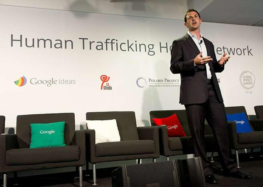 Jared Cohen, director of Google Ideas, talks about disrupting global human trafficking. Photo: Karen Bleier, AFP/Getty Images