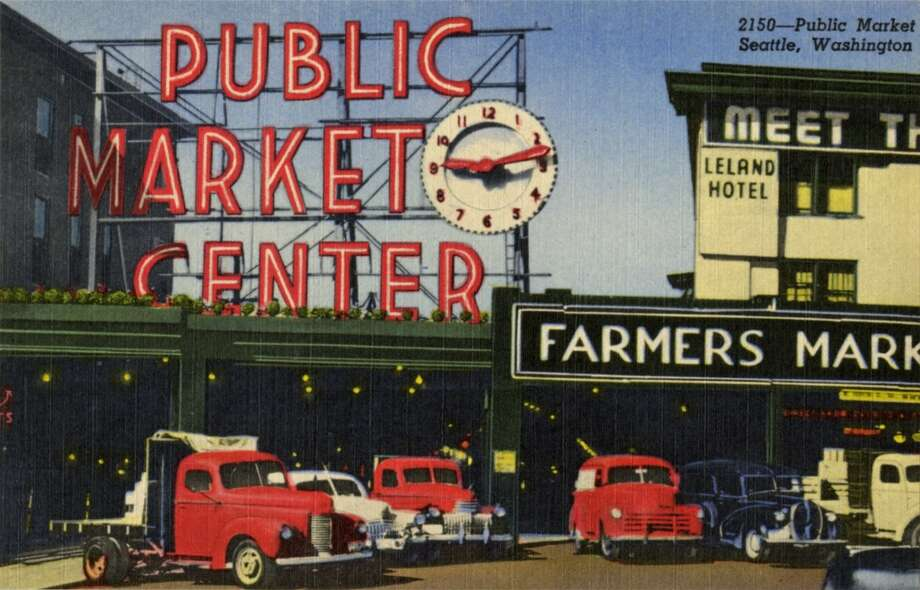 Vintage linen postcard from 1952 showing a view of the Public Market sign and clock.
