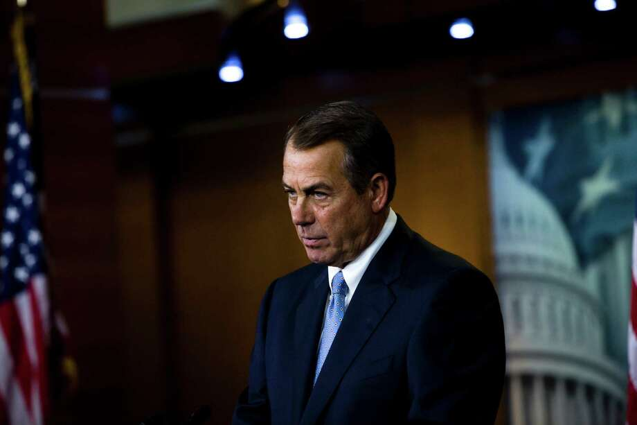House Speaker John Boehner (R-Ohio) during his weekly news conference, during which he addressed gun control legislation, at the U.S. Capitol in Washington, April 11, 2013. Lawmakers on Thursday thwarted a threatened filibuster, clearing the way for debate on the first piece of major gun control legislation to be considered in the Senate in decades. (Christopher Gregory/ The New York Times) Photo: CHRISTOPHER GREGORY / NYTNS