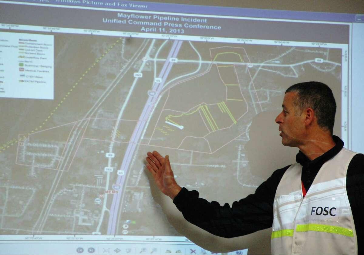 Federal on-scene coordinator Nick Brescia explains cleanup efforts after the oil spill in Mayflower, Ark.