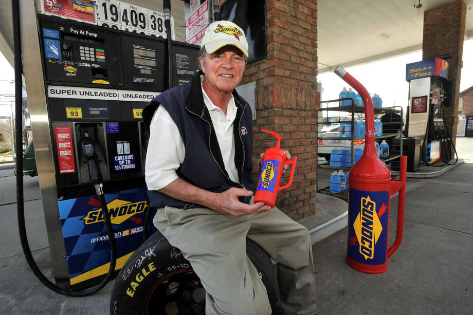 Bob Basche, former chairman of Millsport and current founder and pricipal of Connect Sports and Entertainment based in Stamford, displays a promotional water bottle that is fashioned after a NASCAR/Sunoco gas can at the Sunoco station on Post Road in Darien on Wednesday, April 10, 2013. His plan is to sell the bottles at Sunoco retailers and at NASCAR events. Photo: Jason Rearick / The (Stamford) Advocate