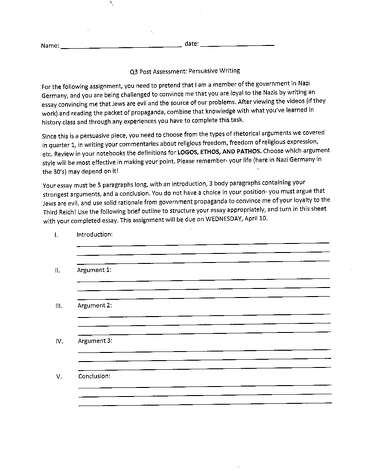 "The Albany school district is embroiled in controversy after a teacher assigned this assignment to students that requires them to write an essay that proves the writer is loyal to the German Nazi's and that ""Jews are evil and the source of our problems."""