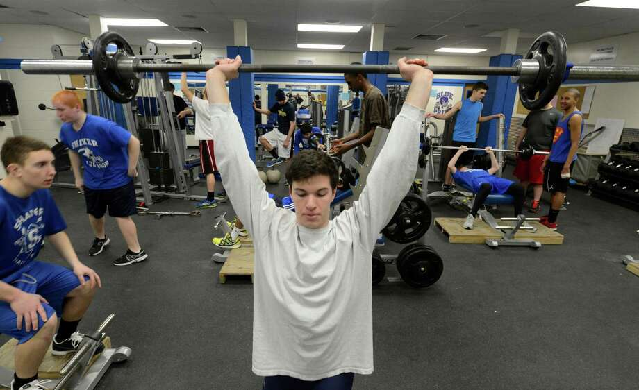 Shaker High School pole vaulter James Steck in the weight room at the school April 4, 2013 in Latham, N.Y.    (Skip Dickstein/Times Union) Photo: SKIP DICKSTEIN