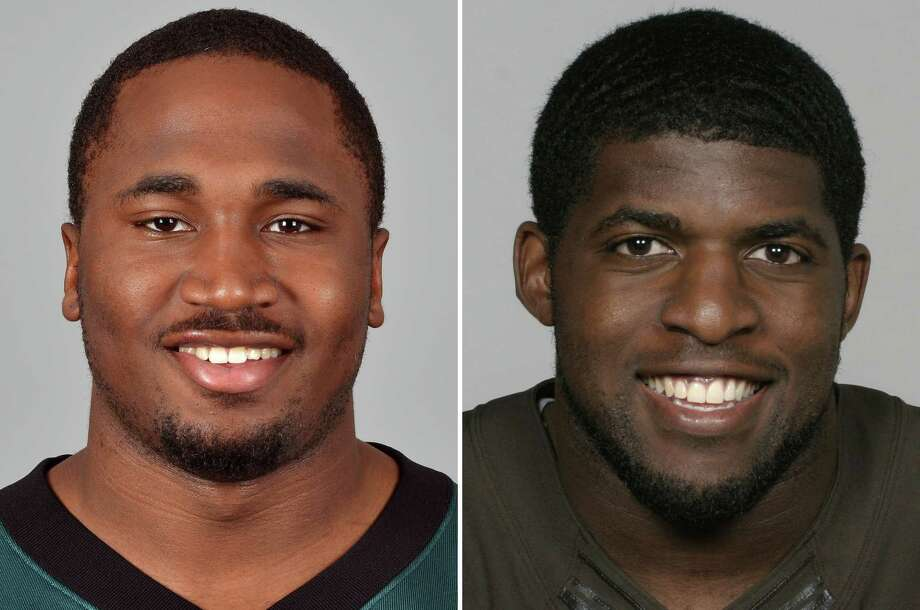 FILE - These 2012 file photos show Dion Lewis of the Philadelphia Eagles NFL football team, left, and Emmanuel Acho, of the Cleveland Browns, right. The Browns have acquired backup running back Lewis from the Eagles in a trade for linebacker Acho. (AP Photo/File)