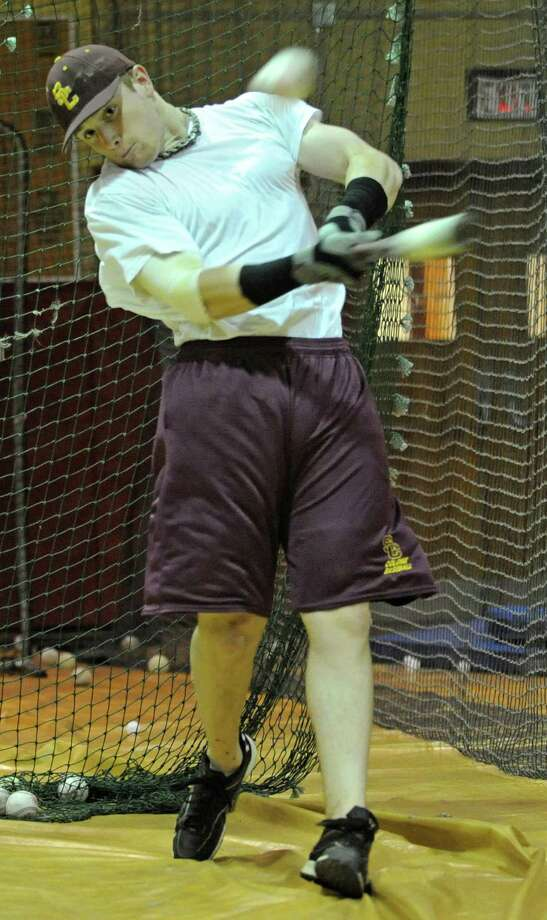 Colonie High School baseball star hitter Brian O'Keefe practices in Colonie, N.Y. Wednesday May 18, 2011. (Lori Van Buren / Times Union) Photo: Lori Van Buren / 00013175A